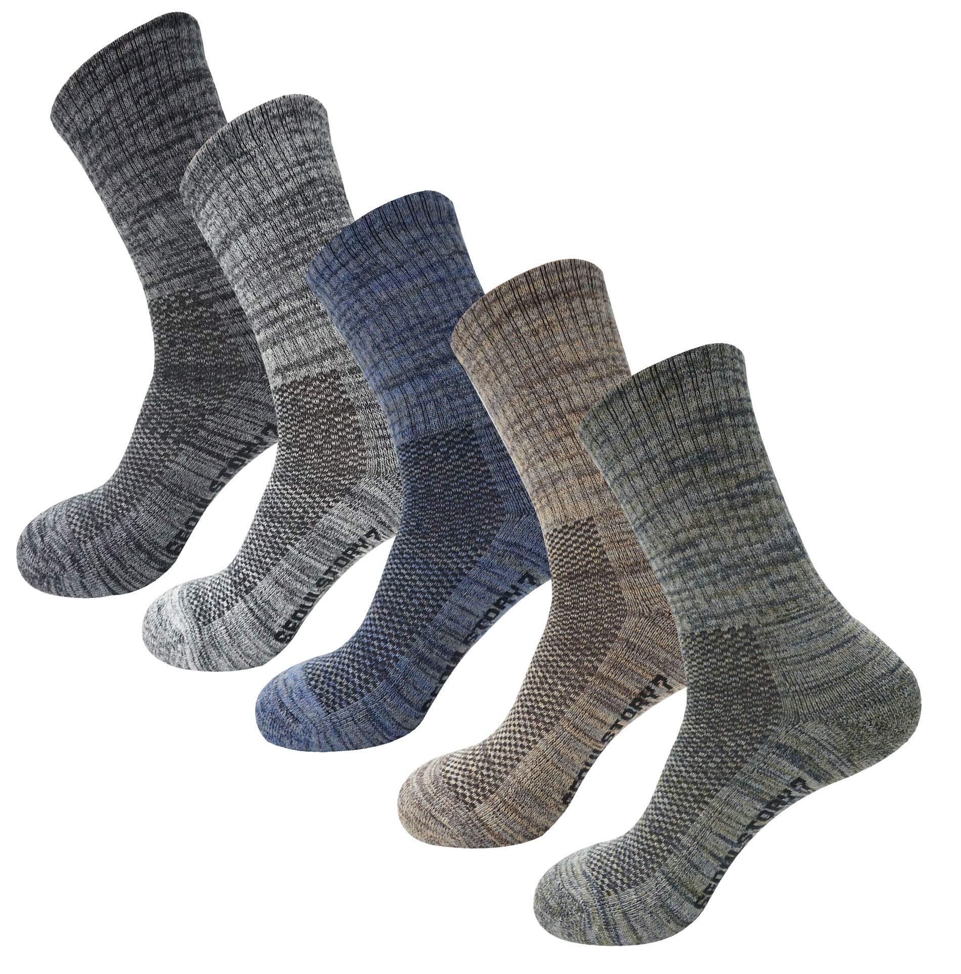 SEOULSTORY7 5Pack Women's Multi Performance Padded Hiking/Outdoor Crew Socks Black/Gray/Blue/Brown/Khaki Medium by SEOULSTORY7