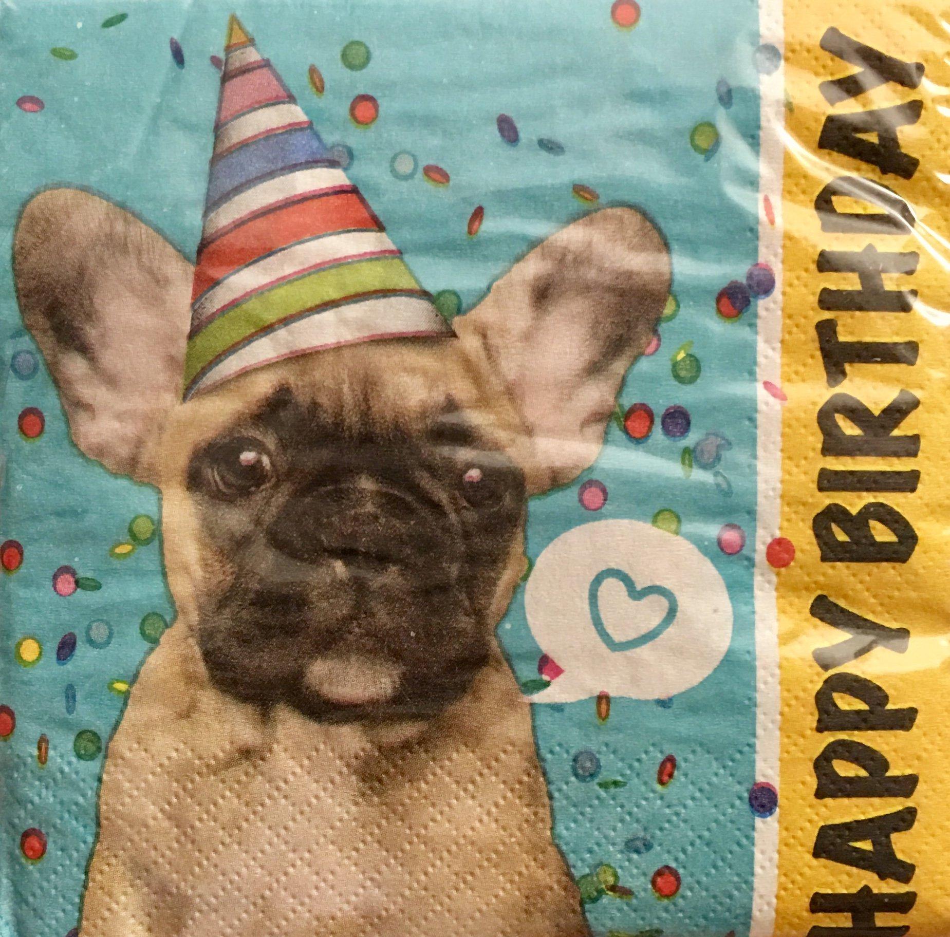 Creative Converting 2-ply Cocktail Beverage Napkins, Pug Happy Birthday, 20 ct