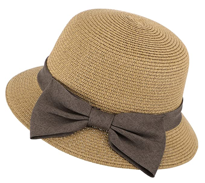Womens Wide Brim UPF 50+ Beach Bucket Straw Sun Hat