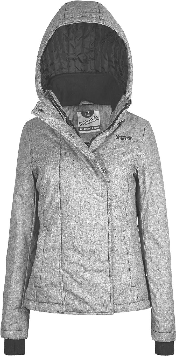 Sublevel Damen Winterjacke mit abnehmbarer Kapuze & Daumenloch | Gut gefütterte Jacke im Sportlichen Look middle grey L