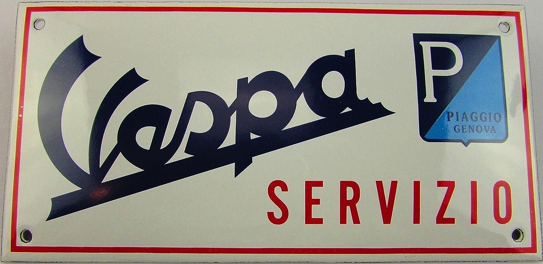 NUEVO esmalte Cartel Vespa servizio, 10 cm x 20 cm, Classic ...