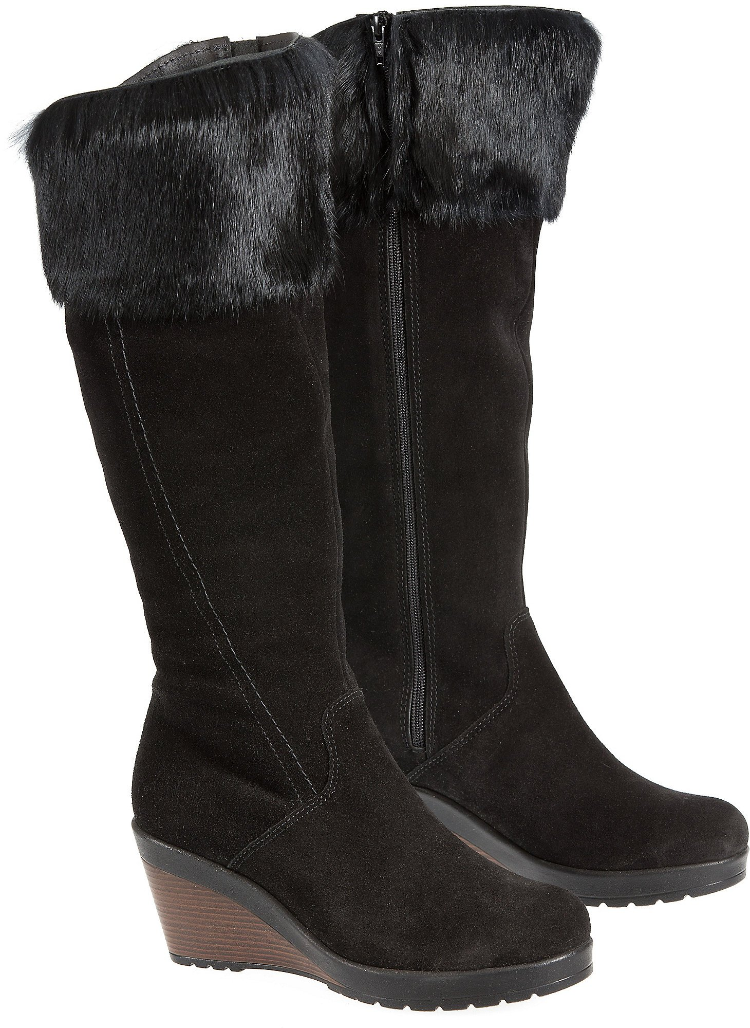 Overland Sheepskin Co. Women's Hershey Wool-Lined Waterproof Suede Boots With Rabbit Fur Trim, Black Suede, Size EU40