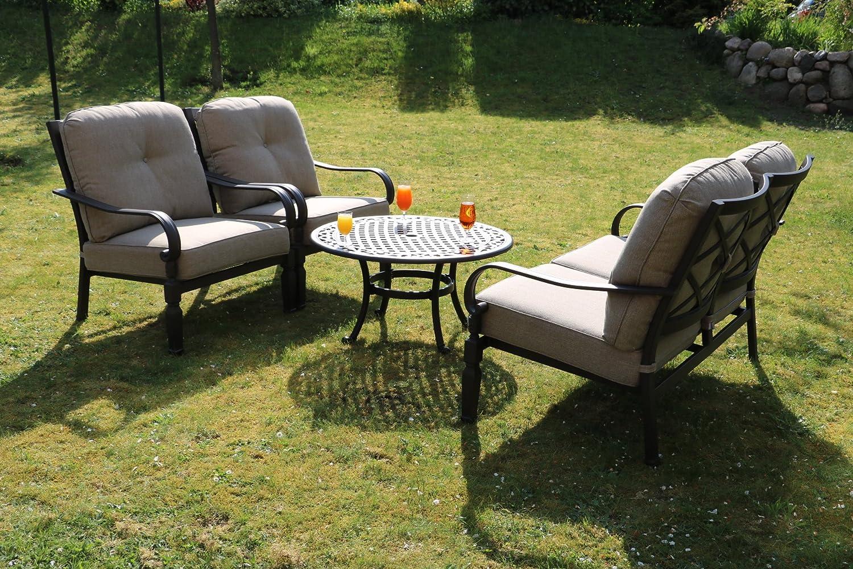 Made for us Alu Garten-Möbel wetterfestes Aluguss Lounge-Möbel Set, Sitzgruppe bestehend aus Garten-Sofa, 2 Garten-Sessel und Couch-Tisch, original (Sofa + 2 Sessel + Couchtisch)