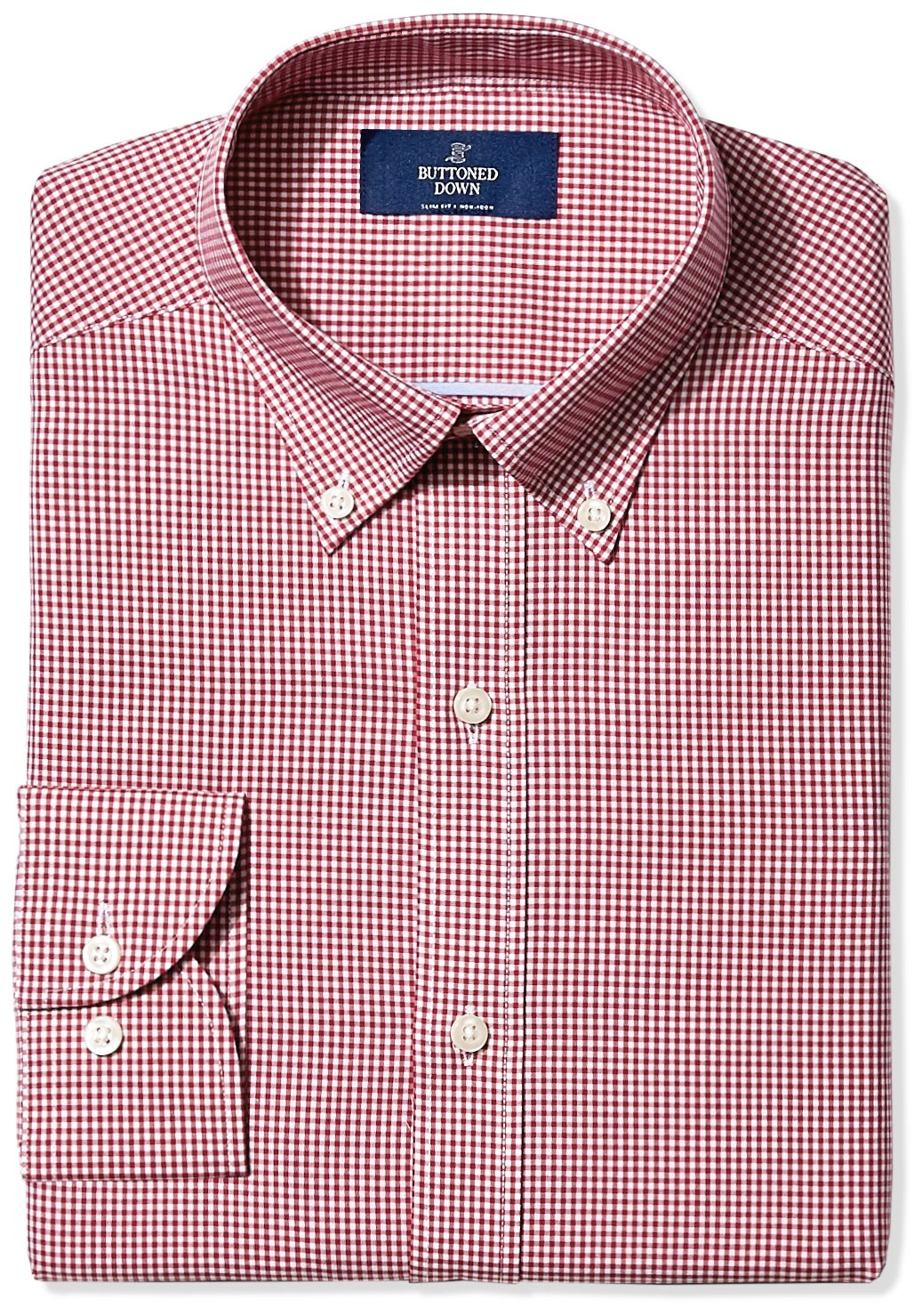 Buttoned Down Men's Slim Fit Button-Collar Non-Iron Dress Shirt, Burgundy Small Gingham, 15.5'' Neck 34'' Sleeve