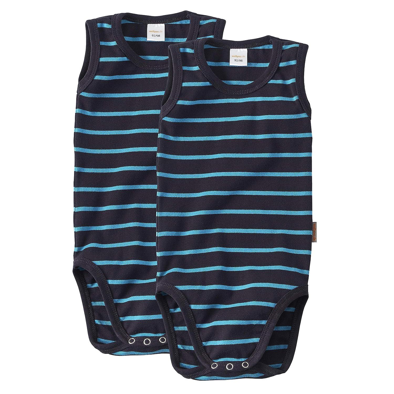 wellyou Doppelpack Baby Body Kinder Body Langarm Marine t/ürkis gestreift Gr/ö/ße 50-98