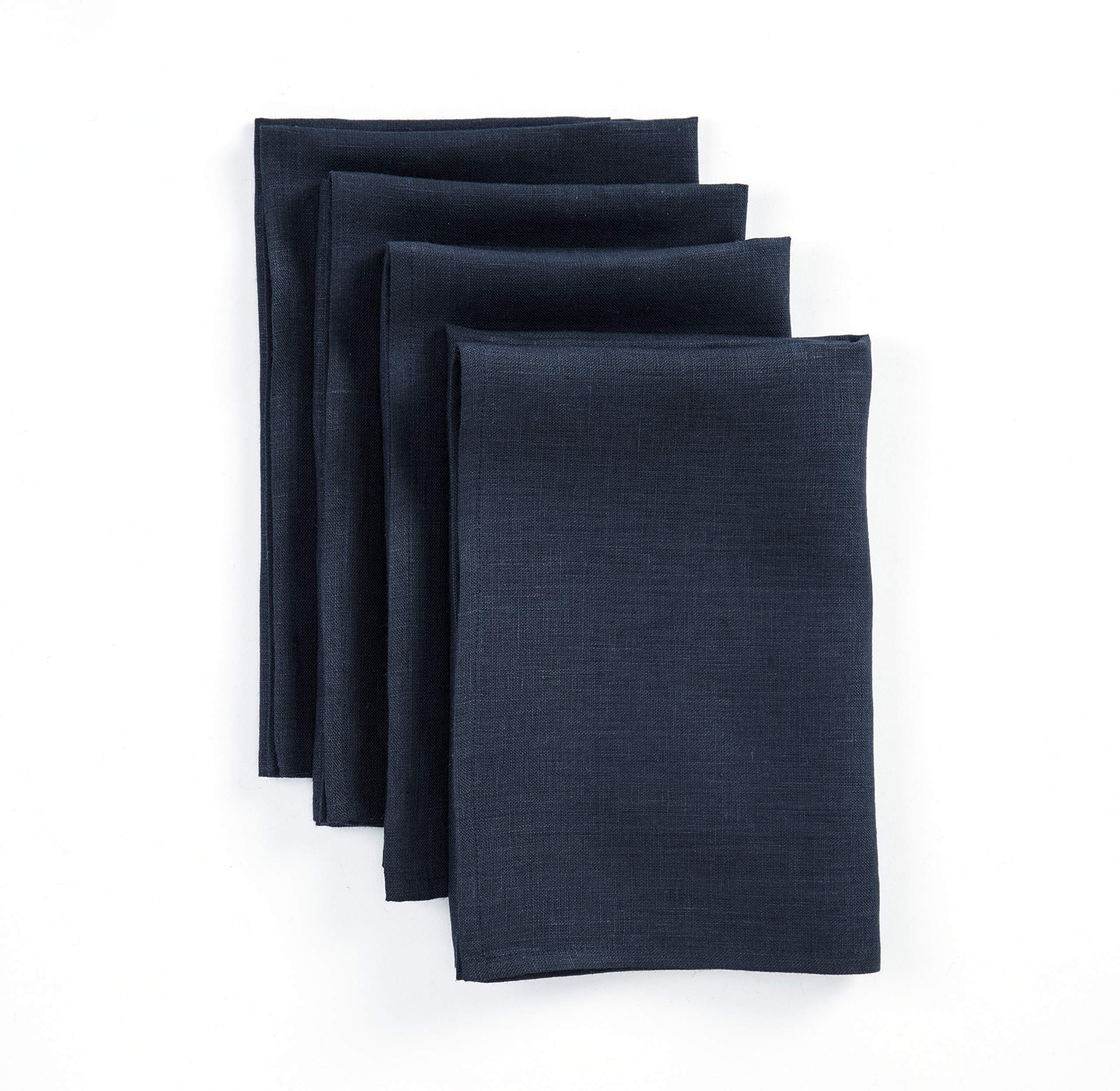 Solino Home Linen Dinner Napkins - 20 x 20 Inch Navy, 4 Pack Linen Napkins, Athena - 100% European Flax, Soft & Handcrafted with Mitered Corners