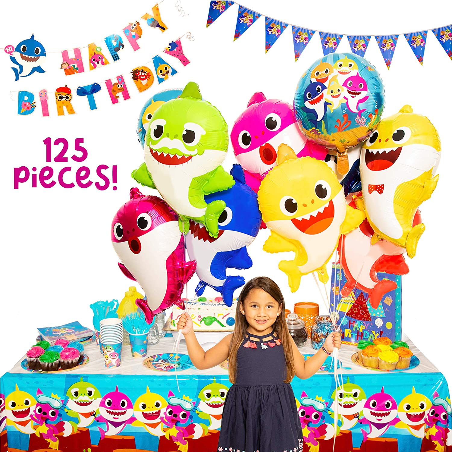 Baby Little Shark Party Supplies - 125Pc Birthday Decor Set - By: Momma Shark - Decorations and Supplies Include Favors, Banner, Balloons, Table Cloth, Plates and 16 Sets of Tableware and Invitations