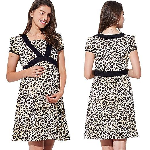 9ee908989f2 Sweet Mommy Maternity and Nursing Leopard Animal Print Maternity Dress
