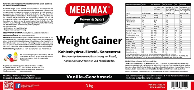 MEGAMAX - Weight Gainer - Suplemento para ganar peso y masa muscular - Vainilla - Solo un 0,5% de grasa - 3 kg: Amazon.es: Deportes y aire libre