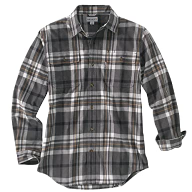 b49e10c607 Carhartt Men's 102216 Hubbard Classic Plaid Shirt - XX-Large - Carbon  Heather at Amazon Men's Clothing store: