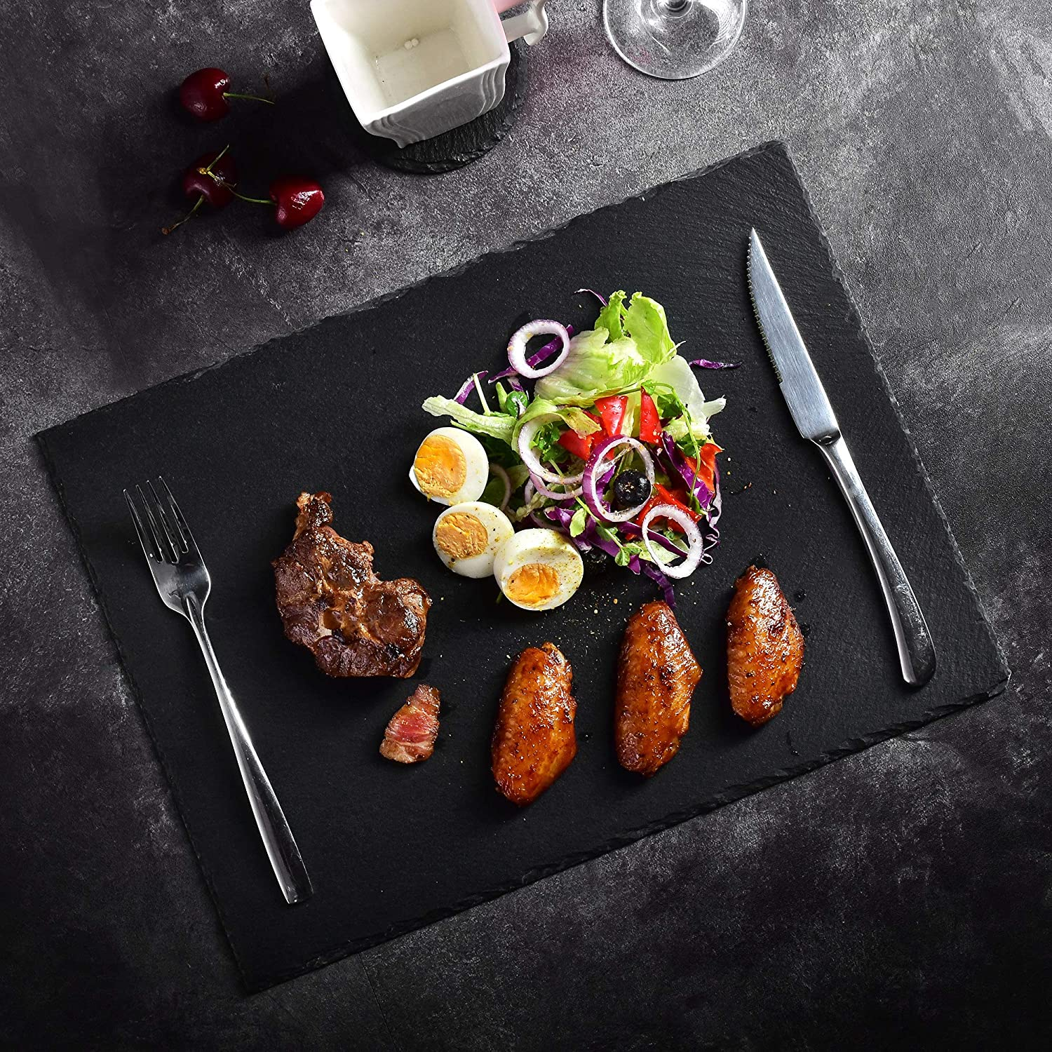 Series Nature.Slate 1-Piece Natural Slate Stone Tablemats Square and Rectangular Placemat Sets Serving Platter for Dinner Parties and Entertaining MALACASA 40 X 30 CM