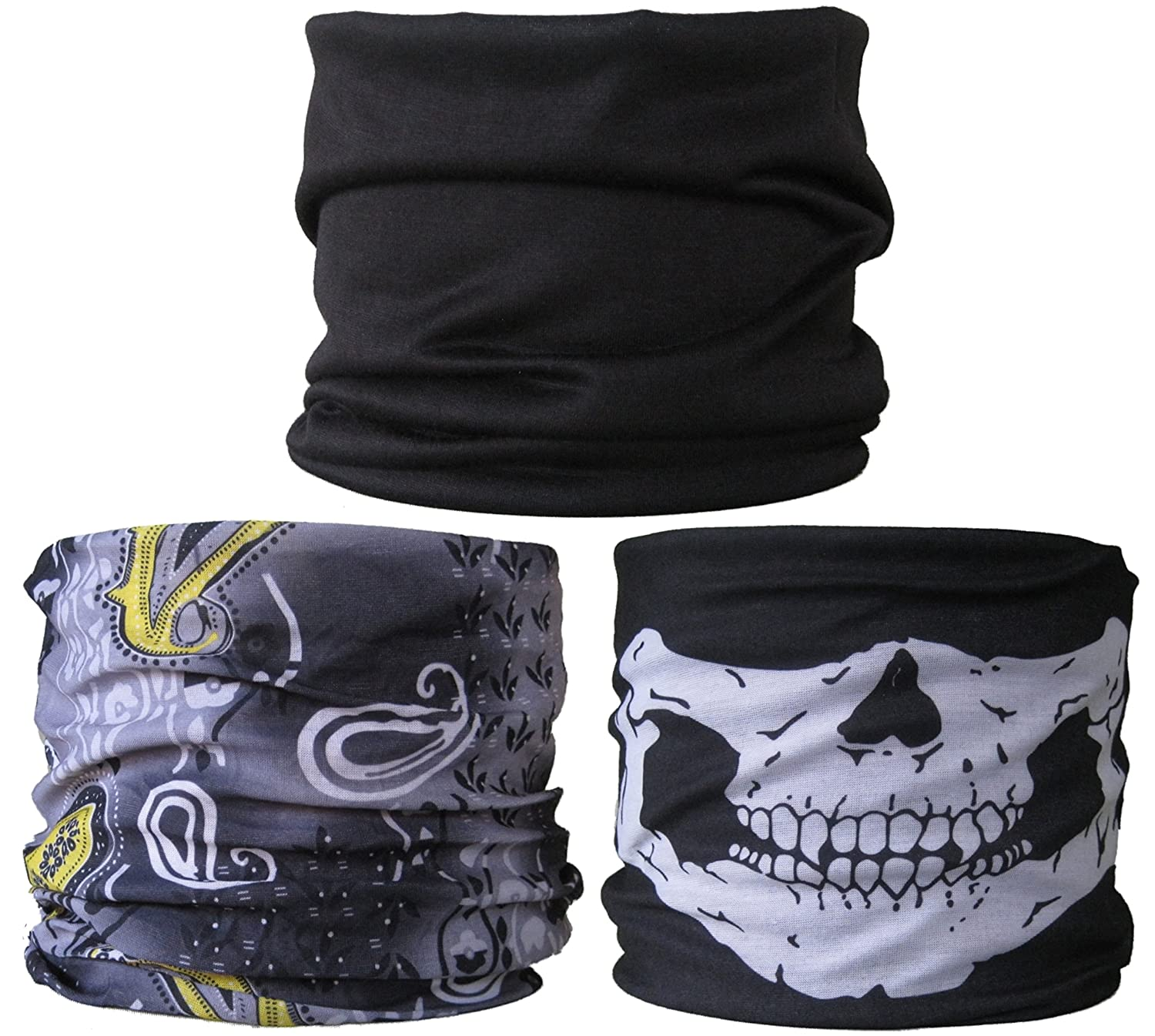 (3 PACK) Multifunctional Headwear...Plain Black / Grey & Yellow Paisley / Skull Jaw