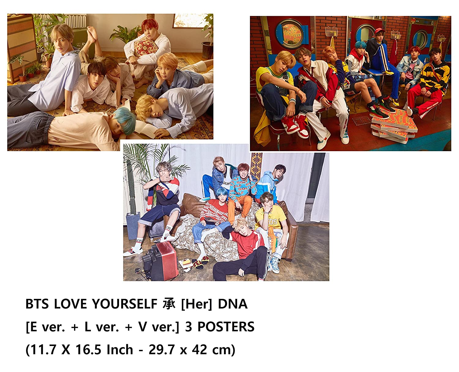 BTS - LOVE YOURSELF 承 [Her] DNA [E ver   L ver   V ver] 3 POSTERS (30 X 42 cm)