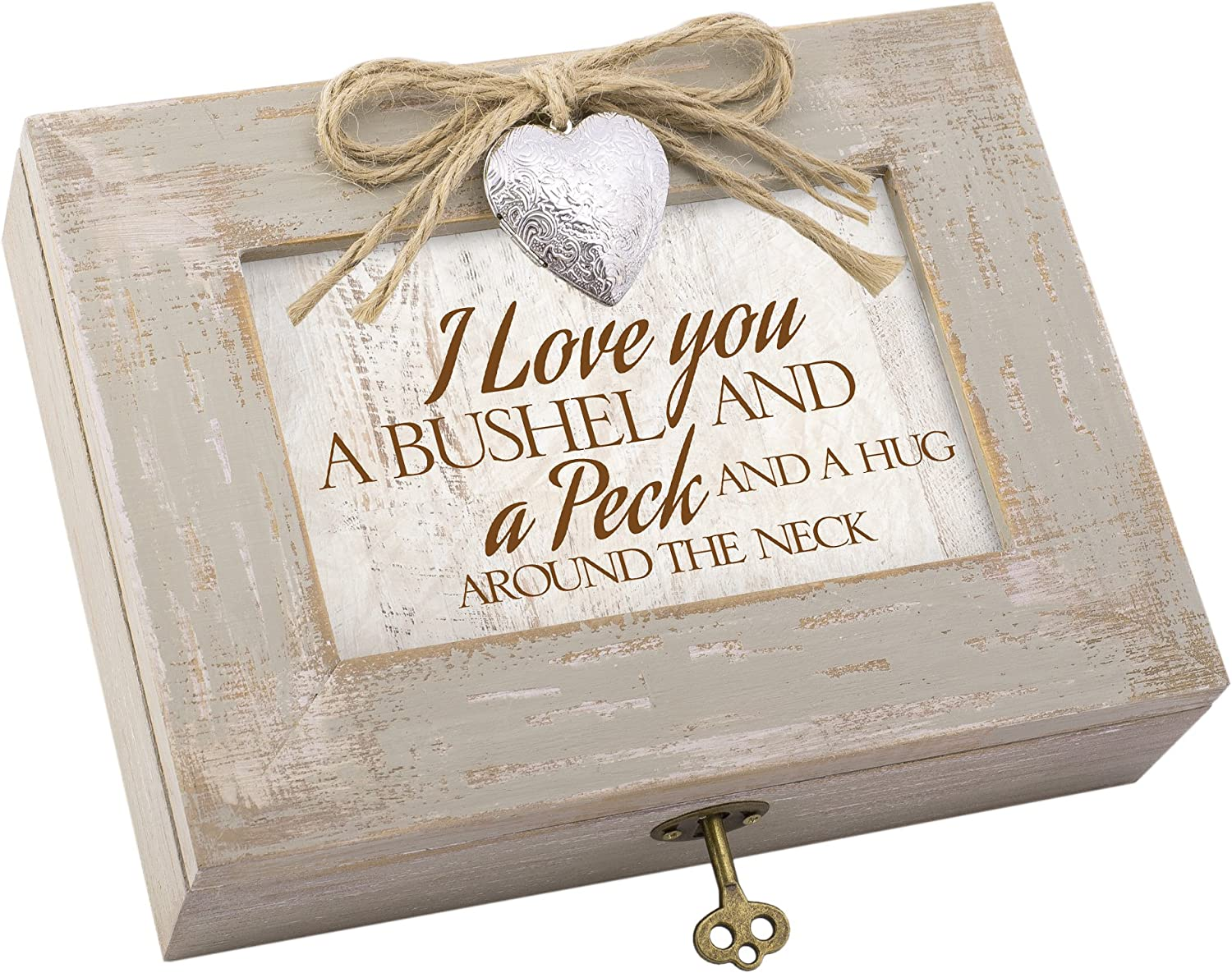 Cottage Garden Love You Bushel Peck Hug Ivory Distressed Jewelry Music Box Plays Edelweiss