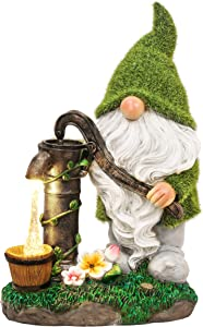 TERESA'S COLLECTIONS Flocked Gnomes Garden Decorations with Solar Powered Lights, Large Resin Garden Sculpture & Statues Funny Gnome Garden Figurines for Outdoor Patio Lawn Yard Decor, 11.4 Inch