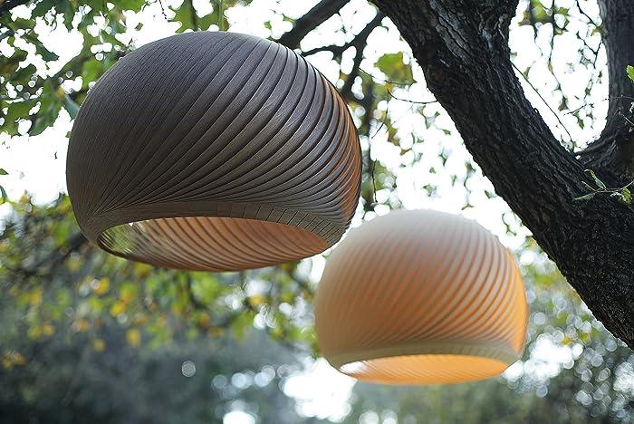 Black Walnut Wood Veneer Lampshade   Modern Ceiling Pendant Light