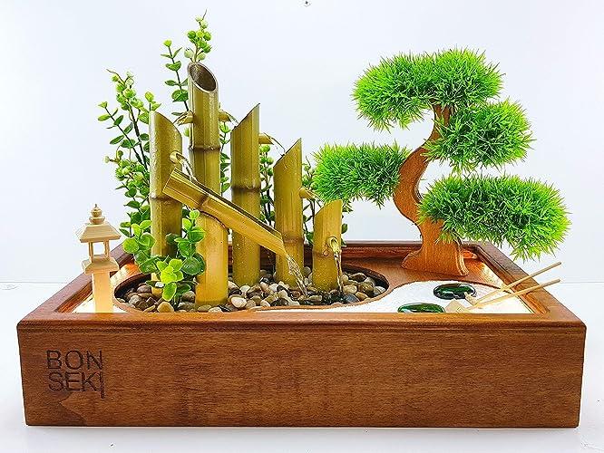 Bonseki® fontana zen giardino 40 x 25 cm in legno con illuminazione