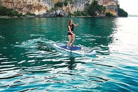 Bestway Hydro-Force Oceana - Tabla inflable de paddle suft con remo de aluminio, blanco y azul (SUP kit con correa, bomba de hinchado con manómetro y ...