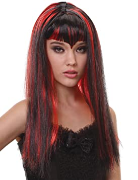 Peluca vampiro larga negra y roja flequillo mujer