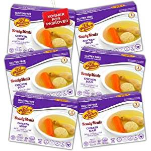 Kosher For Passover Food Matzo Ball Chicken Soup - MRE Meat Meals Ready to Eat - Gluten Free (6 Pack) - Prepared Entree Fully Cooked, Shelf Stable Microwave Dinner