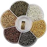 TOAOB 1 Kasten 6 Farben 4 mm Biegeringe Federringe Ringe mit Öffner Näher Schmuckherstellung Werkzeug für Schmuckherstellung Packung mit 2400 Stück