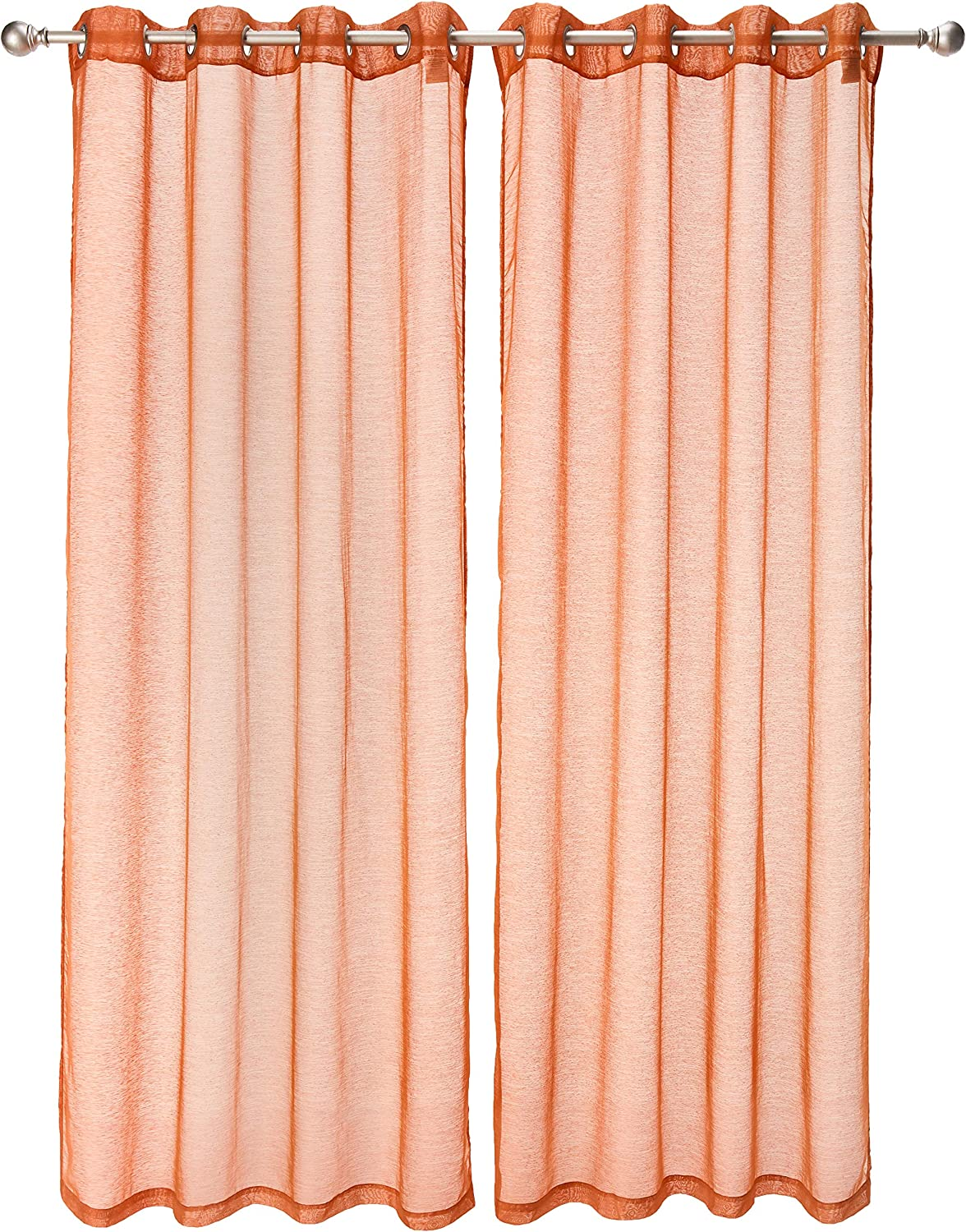 "Dainty Home Malibu Textured Semi-Sheer Linen Look Grommet Top Curtain Panel Pair, 54"" x 84"" each (108"" x 84"" total), Rust Spice"