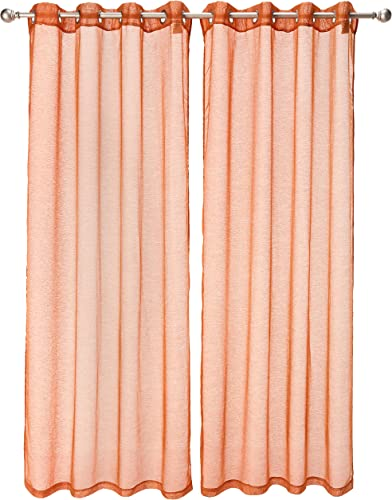 Dainty Home Malibu Textured Semi-Sheer Linen Look Grommet Top Curtain Panel Pair