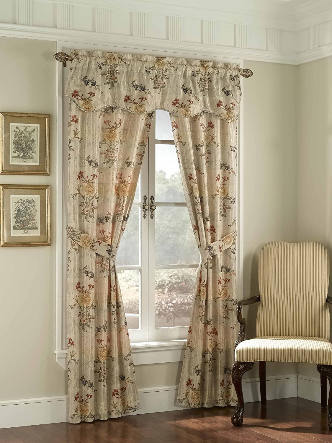 American Curtain and Home Taurus 5-Piece Window Treatment Set, 52-Inch by 84-Inch, Beige American Curtain & Home 021371032483