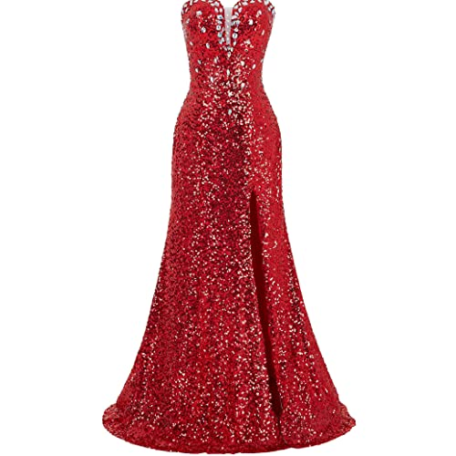 Grace Karin Womens Strapless Sequins Split Ball Gown Evening Prom Party Dress Red