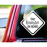"""Minglewood Trading Tiny Human on Board 6"""" x 6"""" White Vinyl Decal Sticker - Baby Infant Car Sign"""