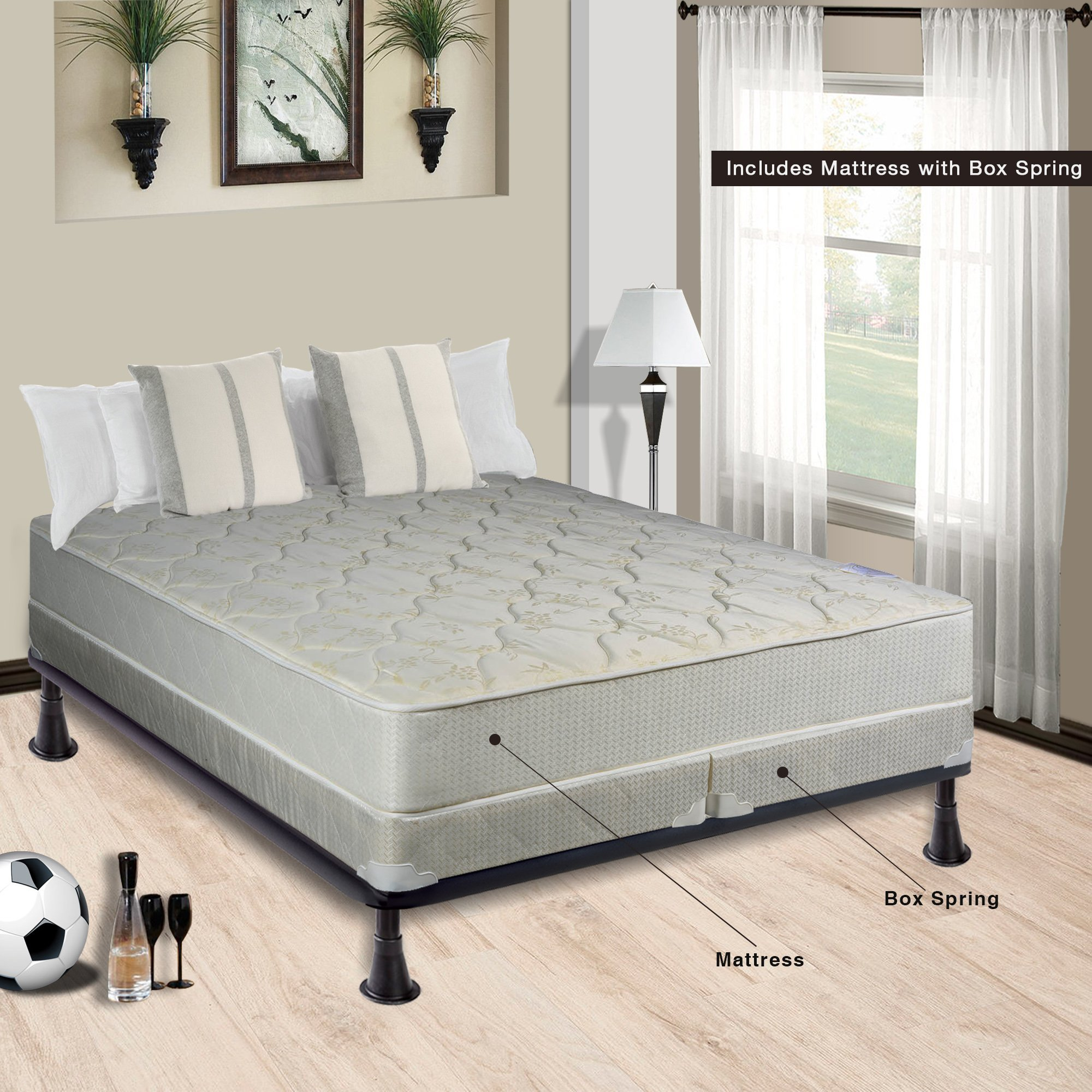 Continental Sleep, 9 Gentle Firm Tight top Innerspring Mattress And 4-inch Split Wood Traditional Box Spring/Foundation Set, Good For The Back, No Assembly Required, Twin Size 74'' x 38'', Beige by Continental Sleep,