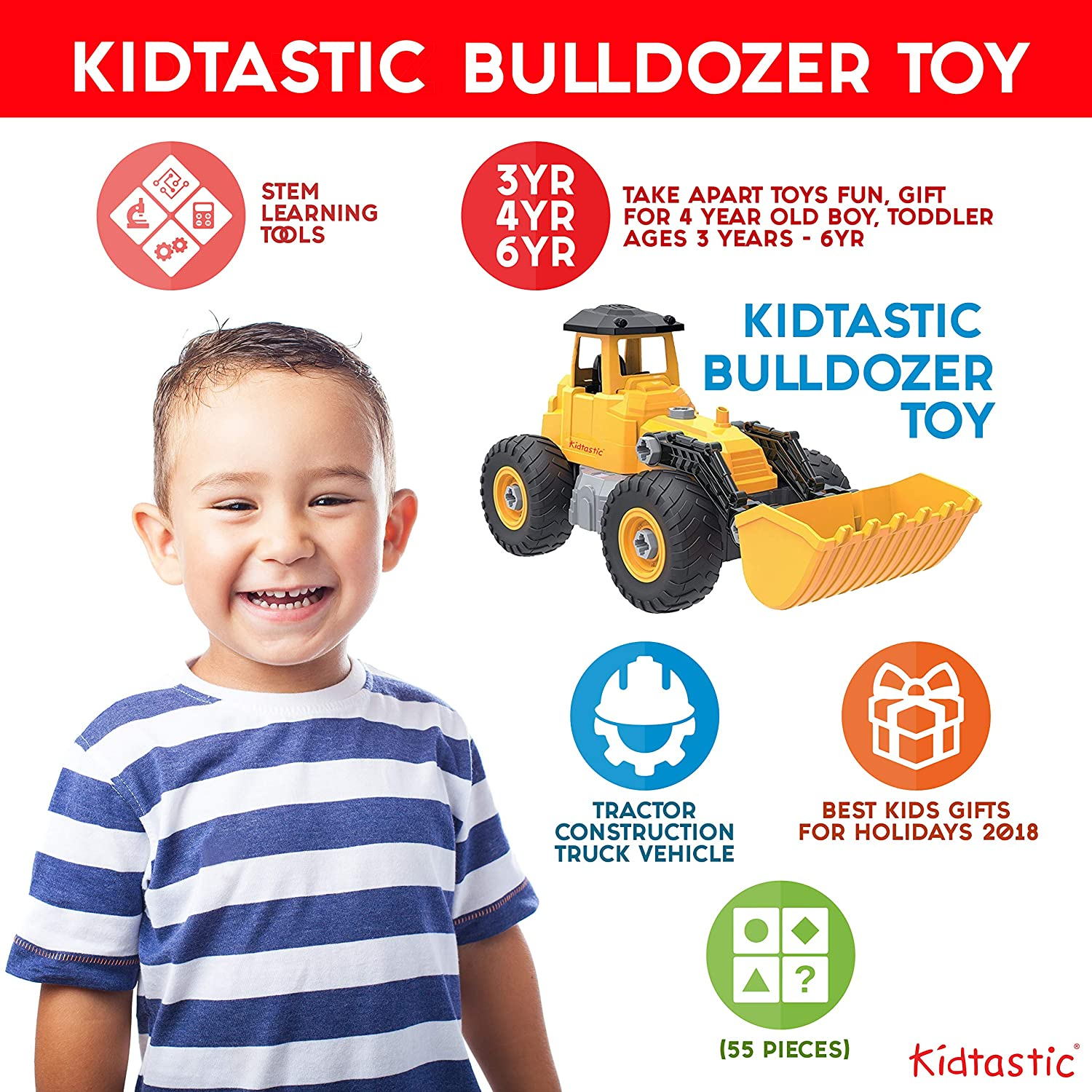 e35b83888255 Amazon.com  Kidtastic Bulldozer Toy