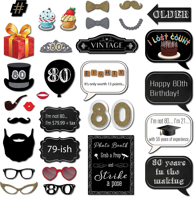 Amazon.com: Fotos de 80o cumpleaños Booth props con 31 ...