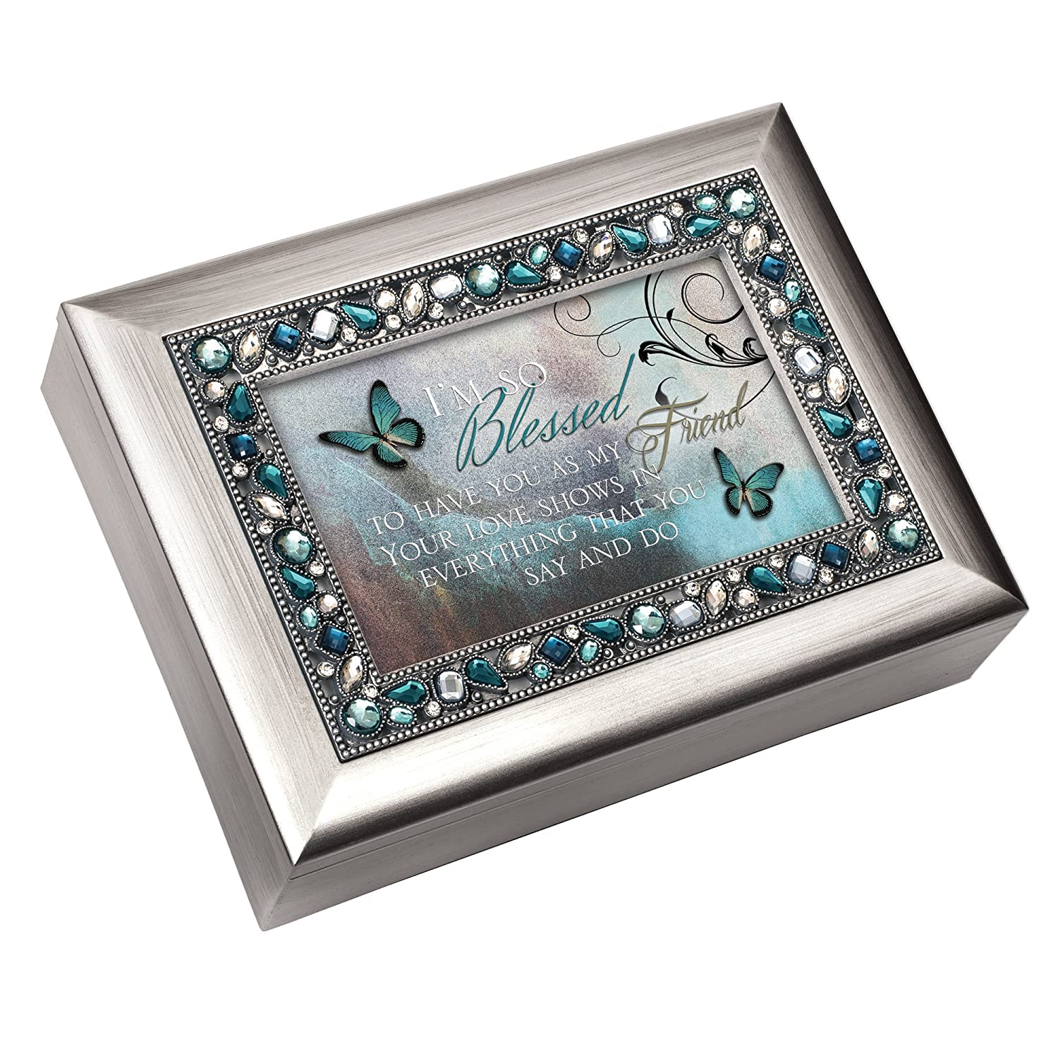 Cottage Garden I'm so Blessed to Have You as My Friend Brushed Silver Finish Decorative Jewel Lid Musical Jewelry Box - Plays Wind Beneath My Wings