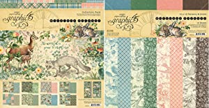 Graphic 45 Woodland Friends Collection Pack and Patterns & Solids Pad - 12x12 Decorative Papers - 2 Items