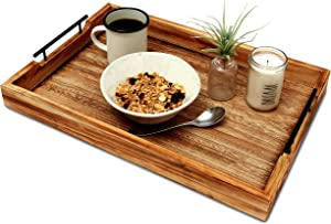 Premium Ottoman Serving Tray - Farmhouse Coffee Table - Decorative Rustic home Decor Trays - Home Bed And Breakfast - Wooden Serving Platters - Large Serving Tray With Handles-rustic torched wood