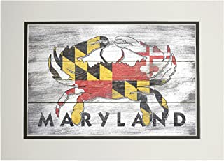 product image for Maryland - Rustic State Flag - Crab (11x14 Double-Matted Art Print, Wall Decor Ready to Frame)