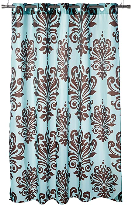 Carnation Home Fashions EZ ON QuotBeacon Hillquot Polyester Shower Curtain Chocolate
