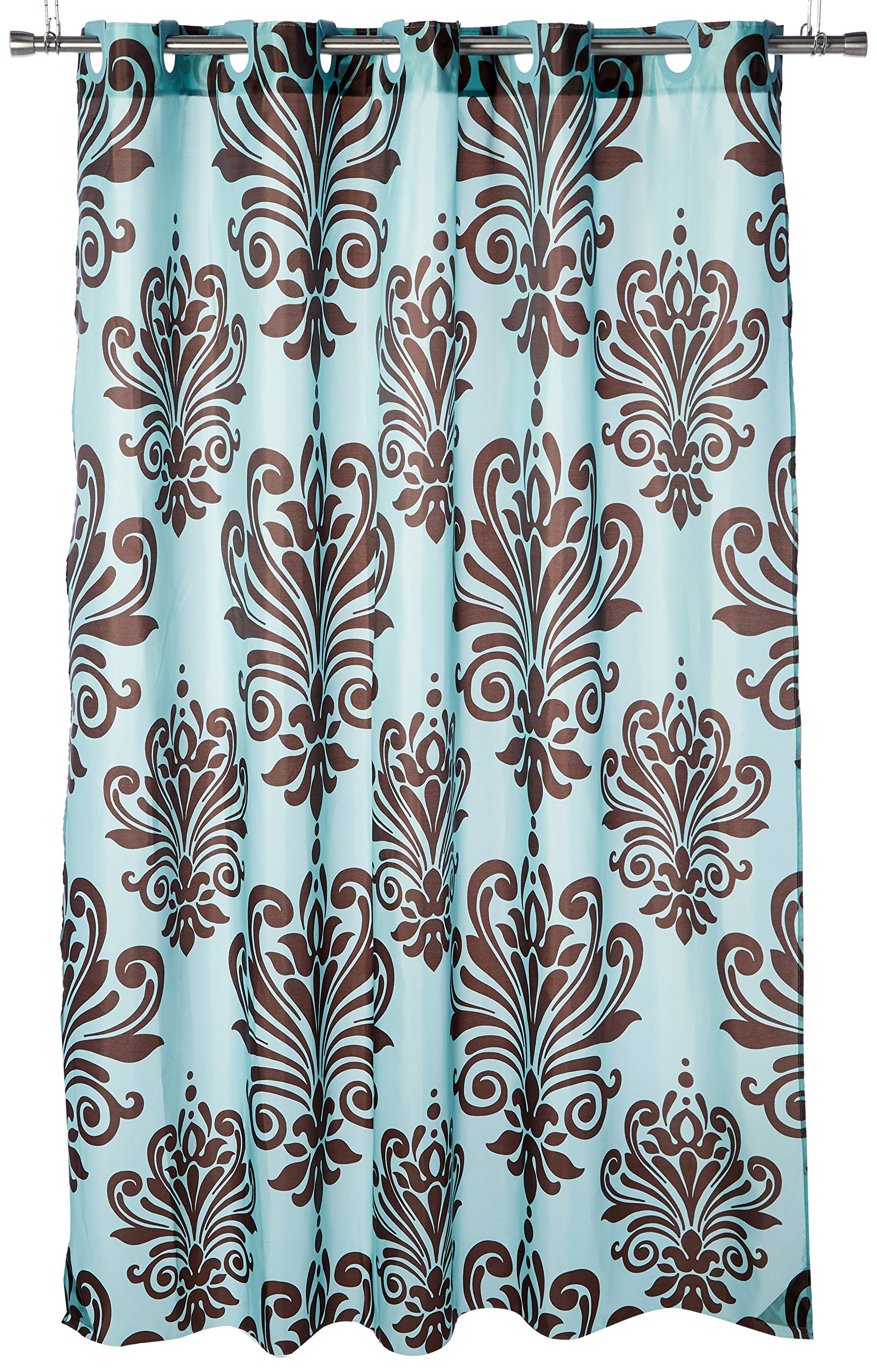Carnation Home Fashions EZ-ON Beacon Hill Polyester Shower Curtain, Chocolate on Spa Blue