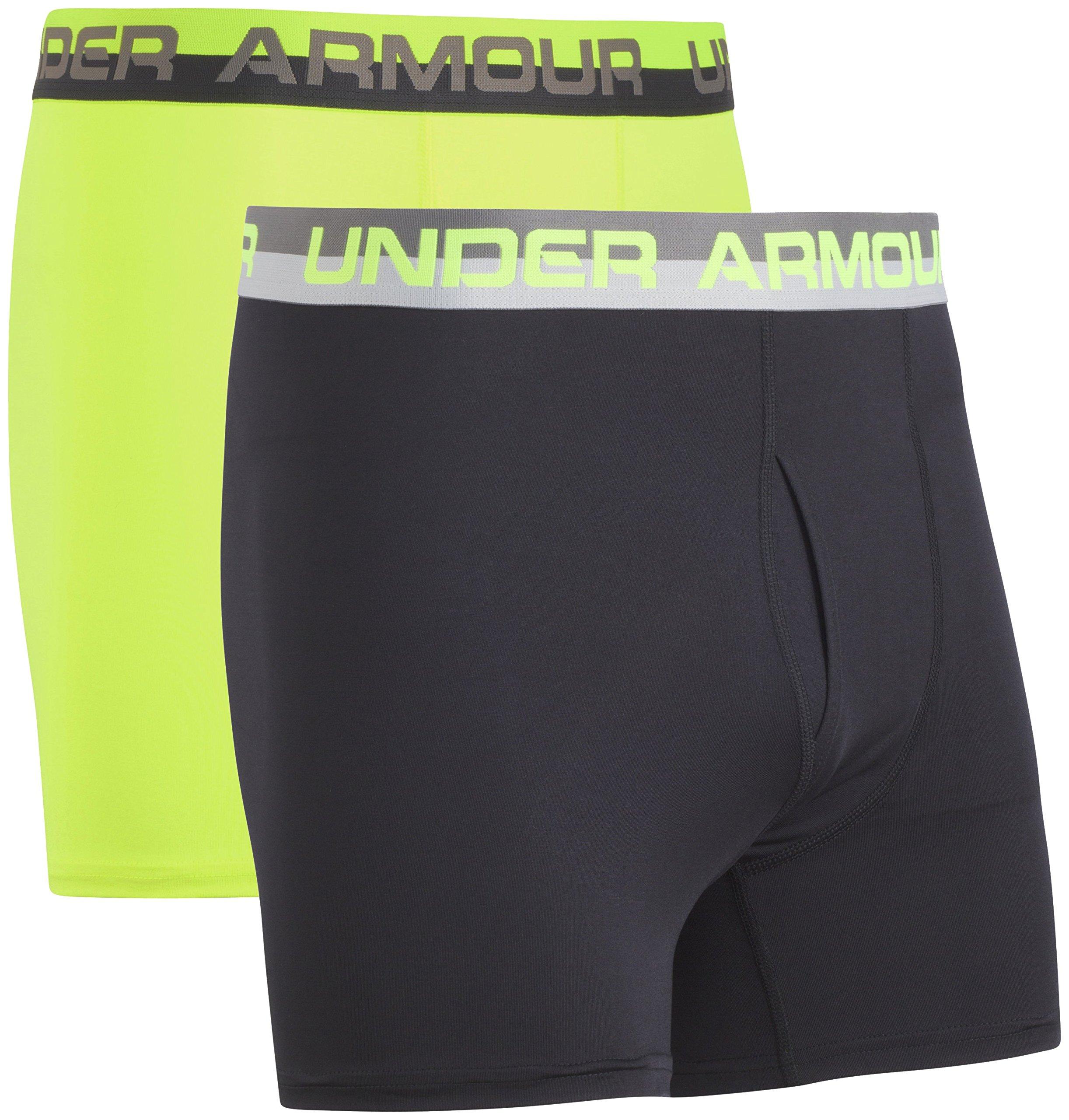 Under Armour Big Boys' 2 Pack Performance Boxer Briefs, Hi Gh/Vis Yellow/Black, YXS