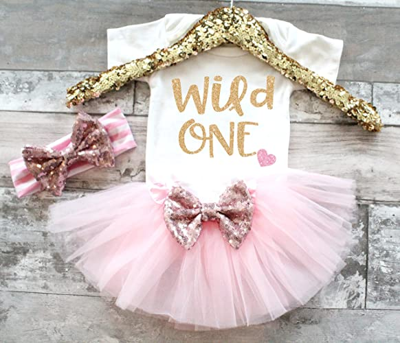 Amazon Baby Girl 1st Birthday Outfit Pink And Gold Wild One Tutu Set First Handmade