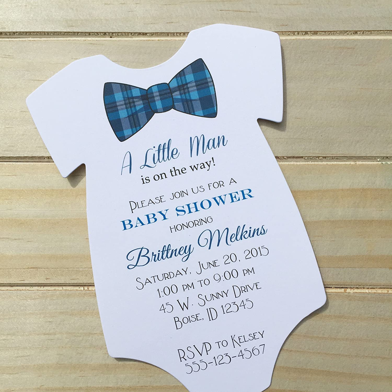 Amazon.com: Set of 10 Blue Plaid Bow Tie Baby Shower Invitations - All  Wording Customized - Boy Baby Shower: Handmade