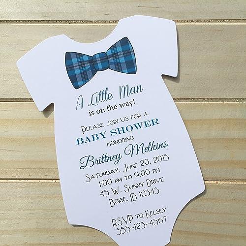 Amazon set of 10 blue plaid bow tie baby shower invitations set of 10 blue plaid bow tie baby shower invitations all wording customized boy filmwisefo