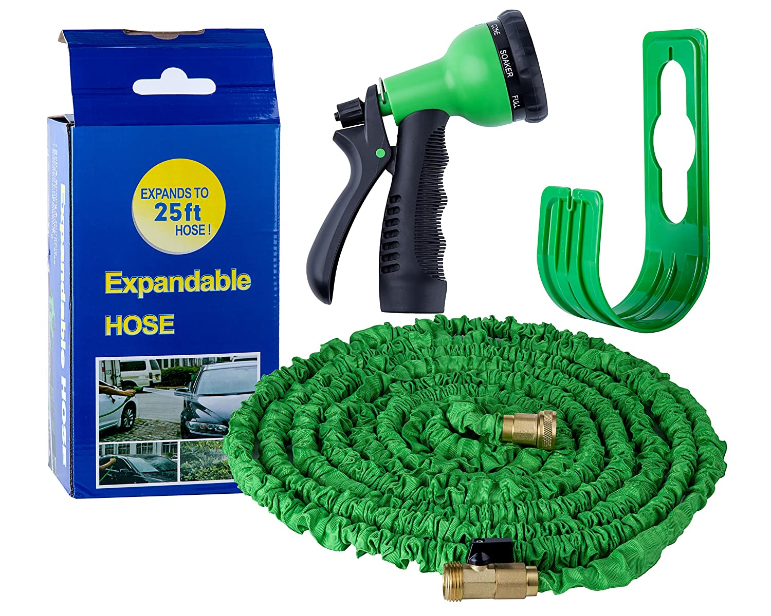 Basecamp Hose Expandable Garden Hose - Strongest Expanding Garden Watering Tube With All Brass Connectors, 8-pattern Sprayer Nozzle And High Pressure - Resistance Latex (25FT)