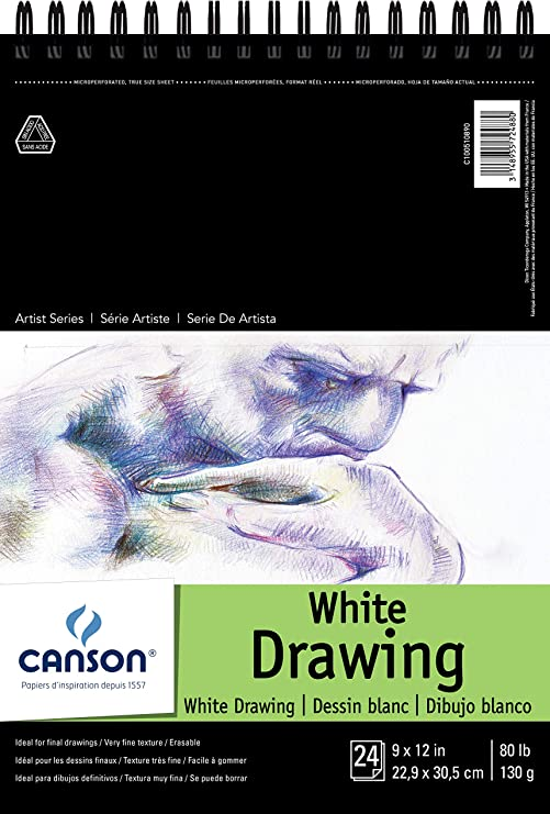 Bright White Canson Artist Series 1557 Pure White Drawing Paper Pad 80 Pound Fine Texture 18 x 24 Inch Top Wire Bound 24 Sheets