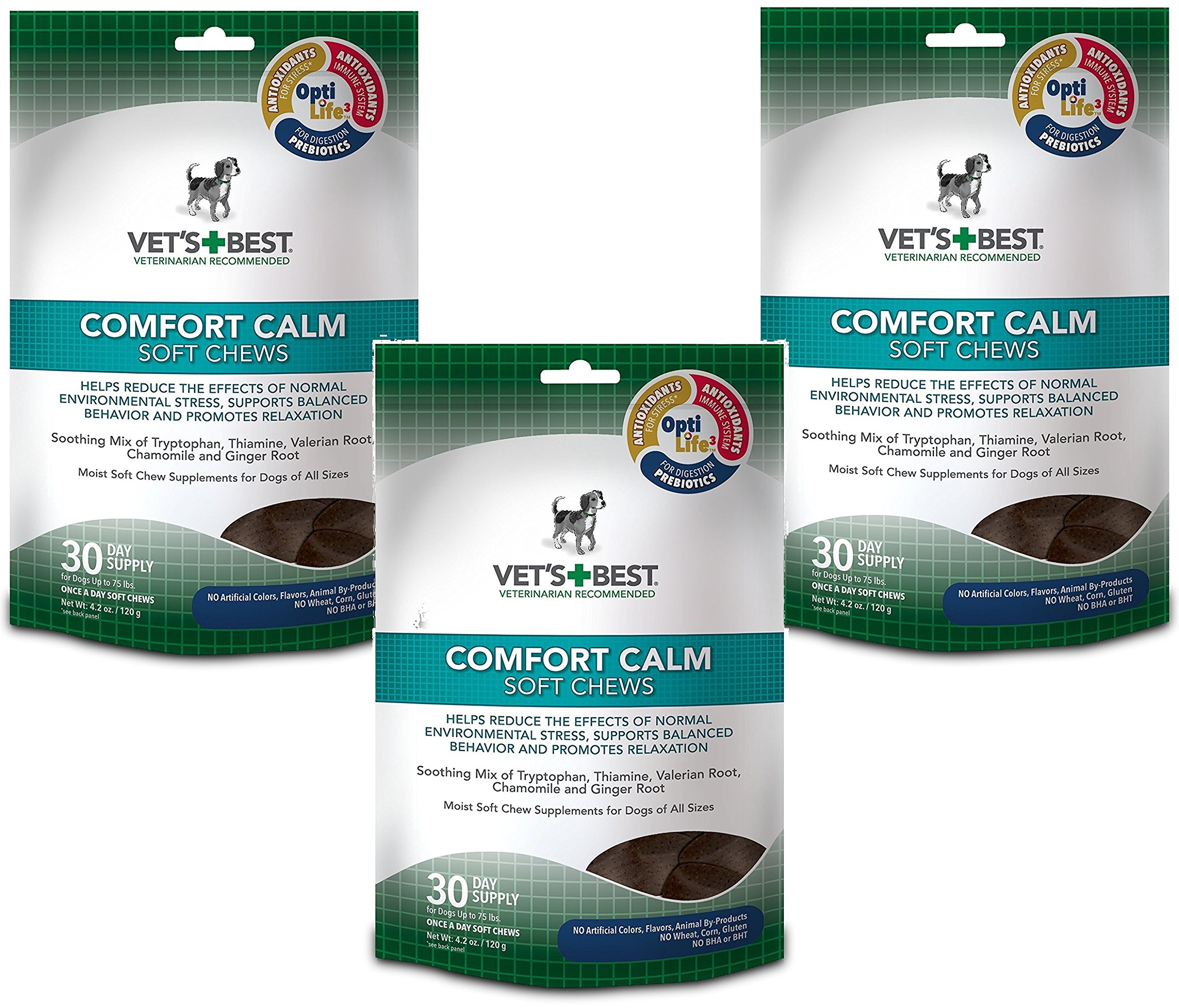 (3 Pack) Vet's Best Comfort Calm Calming Soft Chews Dog Supplements, Each a 30 Day Supply