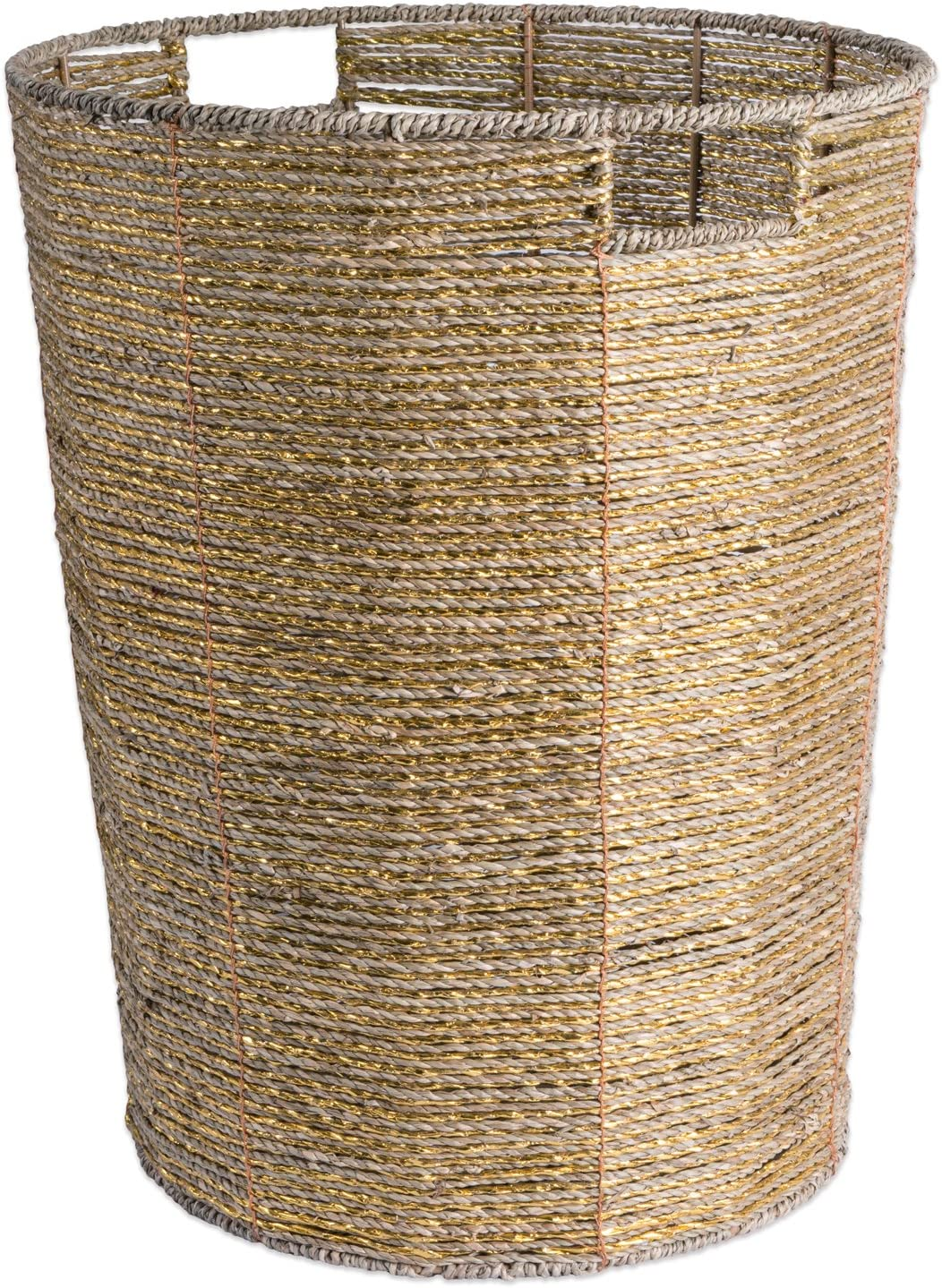 "DII CAMZ37611Decorative Woven Seagrass Laundry Hamper with Metallic for Bathroom & Home Organization Solutions to Enhance Décor & Add Functionality (Round Hamper - 16x20"") Gold"