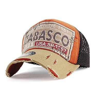 0aef7a74 EASTONE Printed Tabasco Baseball Cap Vintage Mesh Adjustable Cotton Trucker  Hat (Beige/Orange)