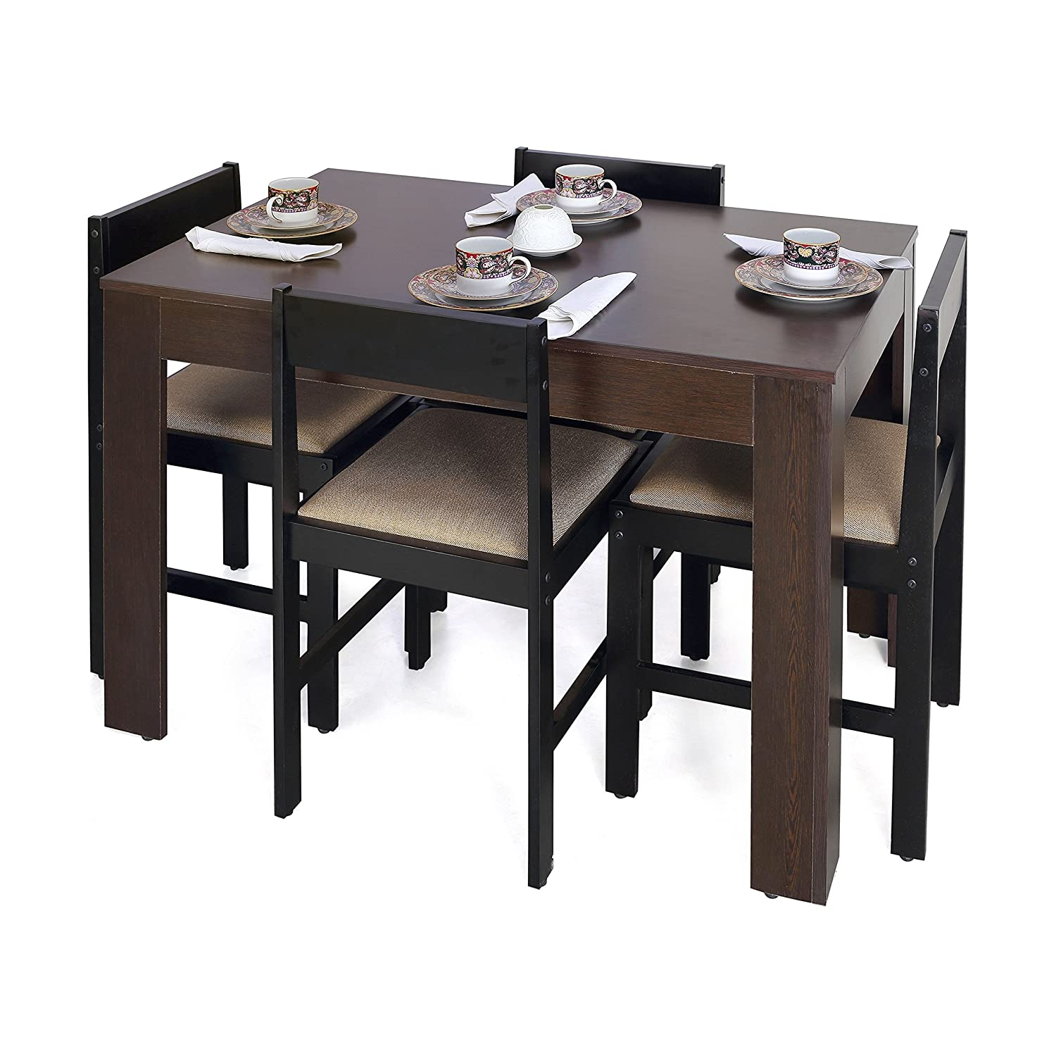 Forzza Peter Four Seater Rectangular Dining Table Set Wenge