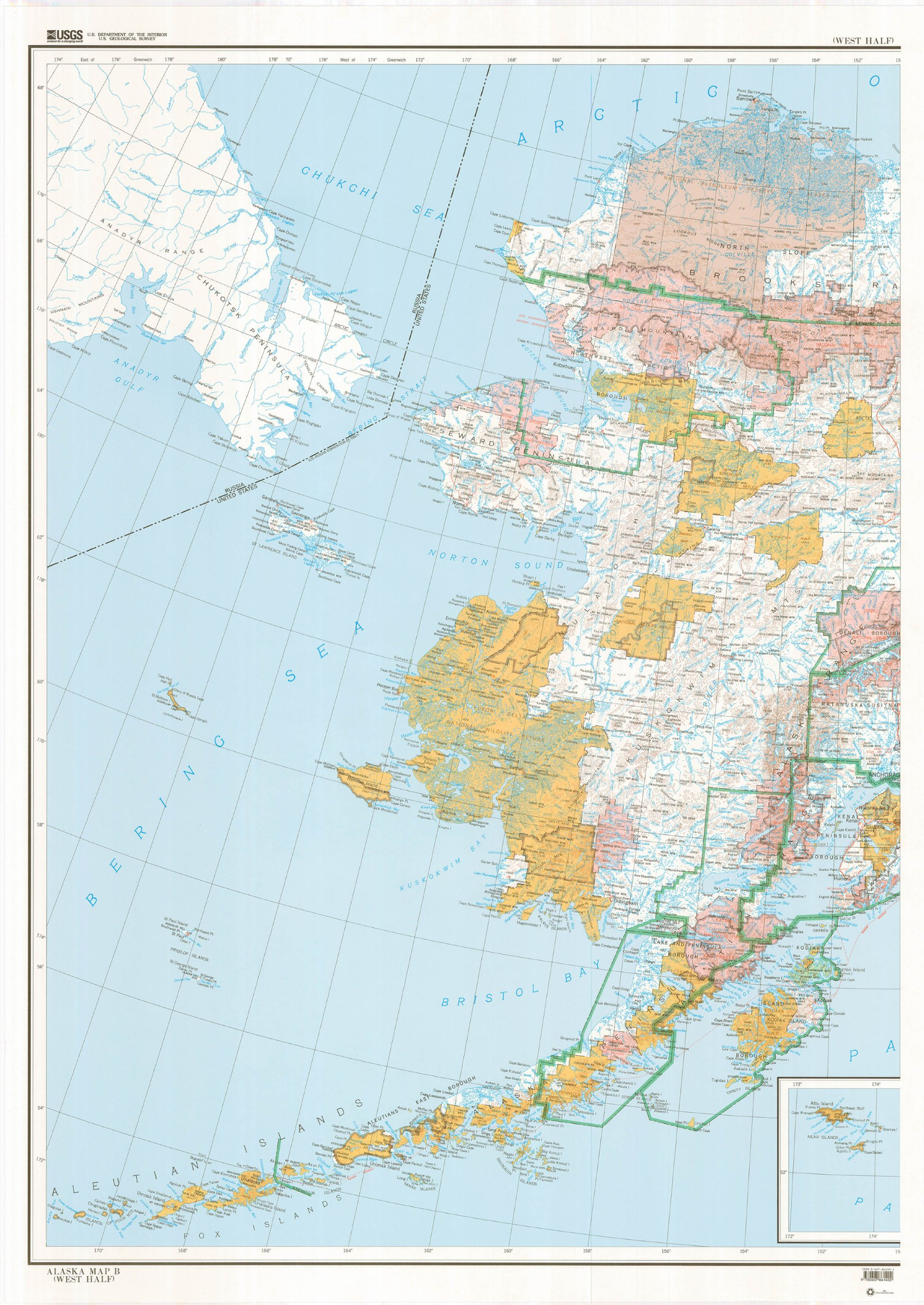 State of Alaska Map B Base Map with Highways with Contours (West ...